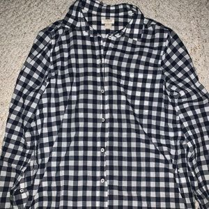 J. Crew black and white gingham shirt size s